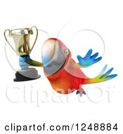 Clipart Of A 3d Macaw Parrot Flying With A Trophy Cup Royalty Free Illustration