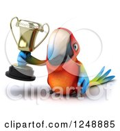 Clipart Of A 3d Macaw Parrot Holding A Trophy Cup 2 Royalty Free Illustration