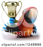 Clipart Of A 3d Macaw Parrot Holding A Trophy Cup Royalty Free Illustration