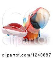 Clipart Of A 3d Macaw Parrot Holding A Steak Royalty Free Illustration