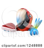 Clipart Of A 3d Macaw Parrot Holding A Steak Over A Sign Royalty Free Illustration