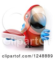 Clipart Of A 3d Macaw Parrot Holding A Steak Around A Sign Royalty Free Illustration