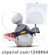 Clipart Of A 3d Penguin Chef Holding A Steak And Blank Sign Royalty Free Illustration