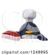 Clipart Of A 3d Penguin Chef Holding A Steak Over A Sign Royalty Free Illustration
