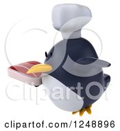 Clipart Of A 3d Penguin Chef Flying With A Steak 2 Royalty Free Illustration