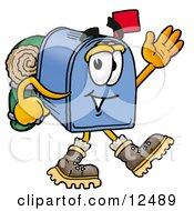 Clipart Picture Of A Blue Postal Mailbox Cartoon Character Hiking And Carrying A Backpack