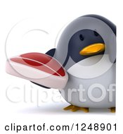 Clipart Of A 3d Penguin Holding A Steak Royalty Free Illustration