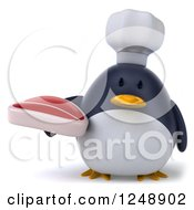 Clipart Of A 3d Penguin Chef Holding A Steak Royalty Free Illustration