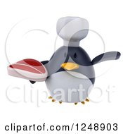 Clipart Of A 3d Penguin Chef Flying With A Steak Royalty Free Illustration