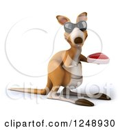 Clipart Of A 3d Kangaroo Wearing Sunglasses And Holding A Steak Royalty Free Illustration
