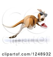 Clipart Of A 3d Kangaroo Wearing Sunglasses And Hopping With A Steak Royalty Free Illustration