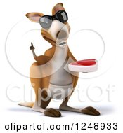Clipart Of A 3d Kangaroo Wearing Sunglasses Holding A Thumb Up And A Steak Royalty Free Illustration