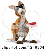 Clipart Of A 3d Kangaroo Wearing Sunglasses Pointing And Holding A Steak Royalty Free Illustration