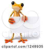 3d Yellow Frog Holding A Blank Sign