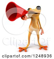 3d Yellow Frog Announcing With A Megaphone