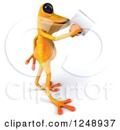 3d Yellow Frog Drinking Coffee 2