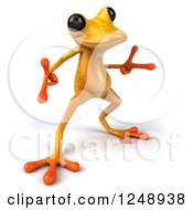 Clipart Of A 3d Yellow Frog Pointing And Dancing Royalty Free Illustration