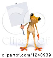 3d Yellow Frog Standing And Holding A Blank Sign