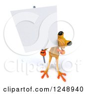 3d Yellow Frog Pointing And Holding A Blank Sign