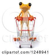 3d Yellow Frog Pushing A Shopping Cart