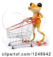 3d Yellow Frog Pushing A Shopping Cart 2