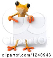 3d Yellow Frog Holding And Pointing To A Blank Sign