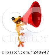 3d Yellow Frog Announcing With A Megaphone 3