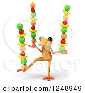 Clipart Of A 3d Yellow Frog Balancing Fruit Royalty Free Illustration