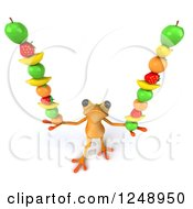 Clipart Of A 3d Yellow Frog Balancing Fruit 2 Royalty Free Illustration