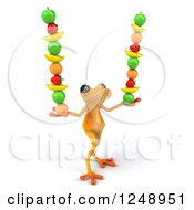Clipart Of A 3d Yellow Frog Balancing Fruit 3 Royalty Free Illustration