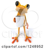 3d Yellow Frog Holding A Coffee Mug