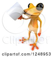 3d Yellow Frog Drinking Coffee