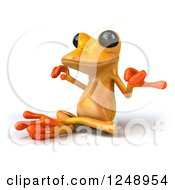 Clipart Of A 3d Yellow Frog Meditating 2 Royalty Free Illustration
