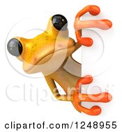 3d Yellow Frog Looking Around A Sign