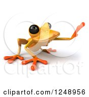 3d Yellow Frog Crouching And Reaching 2
