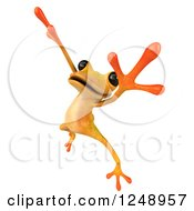 Clipart Of A 3d Yellow Frog Jumping Or Dancing 2 Royalty Free Illustration