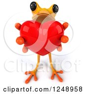 3d Yellow Frog Holding Out A Heart