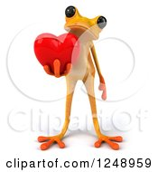 3d Yellow Frog Holding A Heart