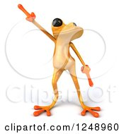 Clipart Of A 3d Yellow Frog Dancing Royalty Free Illustration