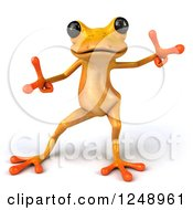 Clipart Of A 3d Yellow Frog Dancing 2 Royalty Free Illustration
