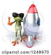 Clipart Of A 3d Green Springer Frog Wearing Shades And Holding A Thumb Up By A Rocket Royalty Free Illustration