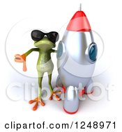 Clipart Of A 3d Green Springer Frog Wearing Shades And Holding A Thumb Down By A Rocket Royalty Free Illustration