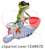 Clipart Of A 3d Green Springer Frog Wearing Shades And Riding A Rocket 2 Royalty Free Illustration