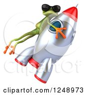 Clipart Of A 3d Green Springer Frog Wearing Shades And Riding A Rocket 3 Royalty Free Illustration