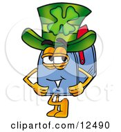 Blue Postal Mailbox Cartoon Character Wearing A Saint Patricks Day Hat With A Clover On It