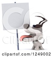 Clipart Of A 3d Jack Russell Terrier Dog Looking Up At A Blank Sign Royalty Free Illustration