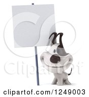 Clipart Of A 3d Jack Russell Terrier Dog Smiling By A Blank Sign Royalty Free Illustration