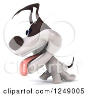Clipart Of A 3d Jack Russell Terrier Dog Panting And Walking Royalty Free Illustration