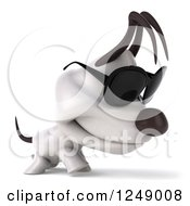 Clipart Of A 3d Sad Walking Jack Russell Terrier Dog In Sunglasses Royalty Free Illustration