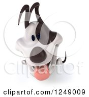 Clipart Of A 3d Jack Russell Terrier Dog Panting Over A Sign Royalty Free Illustration